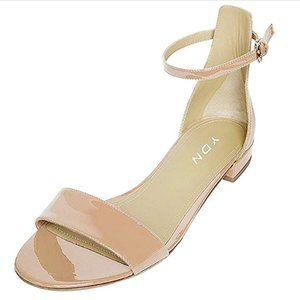 YDN Chic Block Low Heel Sandals Open Toe Ankle